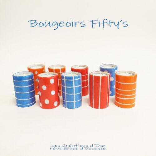 """Bougeoirs cylindriques en porcelaine, collection """" Fifty's"""" - Peint à la main."""
