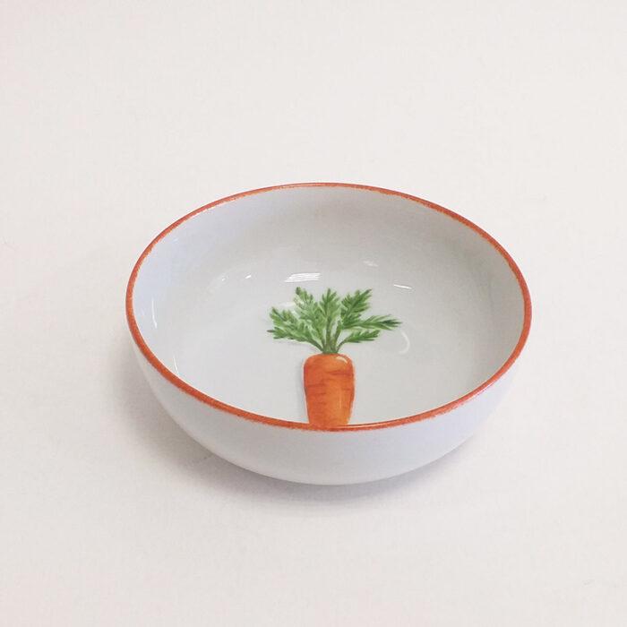 Coupelle en porcelaine, collection potager. Peint à la main. Motif : carottes - 1