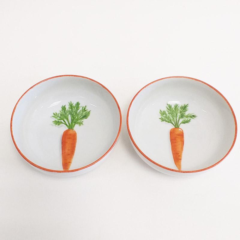 Coupelles en porcelaine, collection potager. Peint à la main. Motif : carottes