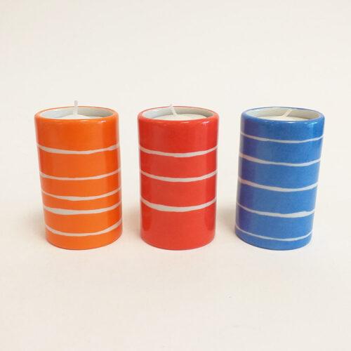 Trilogie de bougeoirs en porcelaine, collection fifty's, peint à la main.