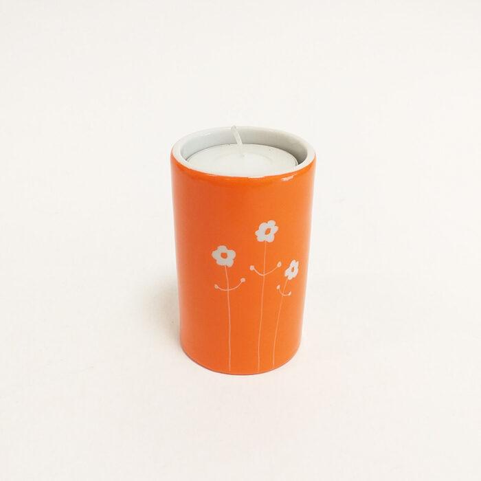 Bougeoir cylindrique en porcelaine, Collection bucolique. Peint à la main par les Créations d'Isa. Mandrine