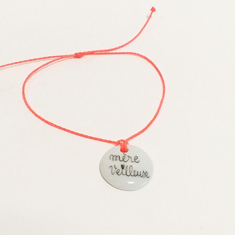 bracelet en porcelaine. Collection Mère veilleuse. orange fluo