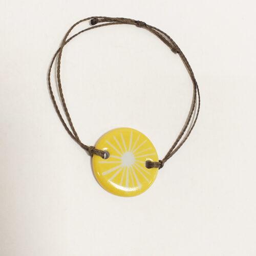 Collection Solaire, bijoux de porcelaine : bracelet jaune