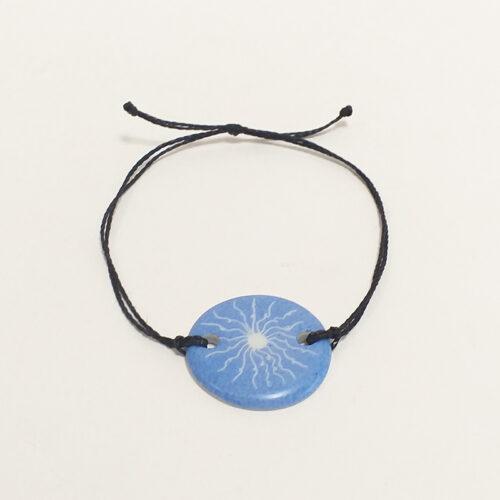 Collection Solaire, bijoux de porcelaine : bracelet bleu