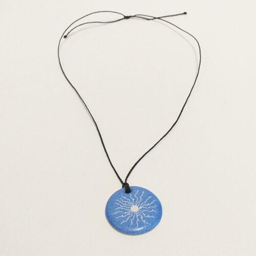 Collection Solaire, bijoux de porcelaine : pendentif Bleu